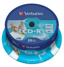 CD-R 80 Verbatim 52x, spindl, printable (balení 25 ks)