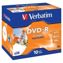 DVD-R Verbatim 4,7 GB, 16x, jewel box, printable