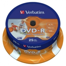 DVD-R Verbatim 4,7 GB, 16x, spindl, printable (balení 25 ks)