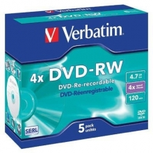 DVD-RW Verbatim 4,7 GB, 4x, jewel box (balení 5 ks)