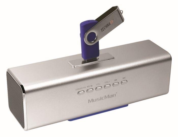 Přenosný reproduktor Technaxx MusicMan, USB, stříbrný