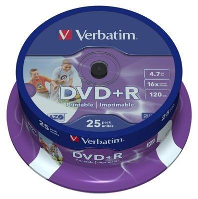 Dvd R Verbatim 4,7 GB, 16x, spindl, printable, bal 25 ks