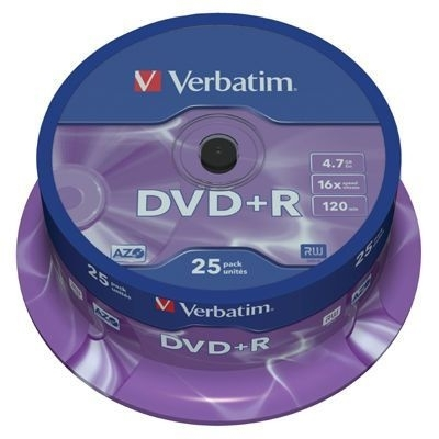 DVD+R Verbatim 4,7 GB, 16x, cake 25 ks