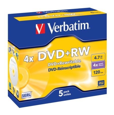 DVD+RW Verbatim 4,7 GB, 4×, jewel box (balení 5 ks)
