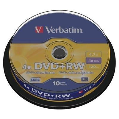 DVD+RW Verbatim 4,7GB, 4x, cake 10 ks
