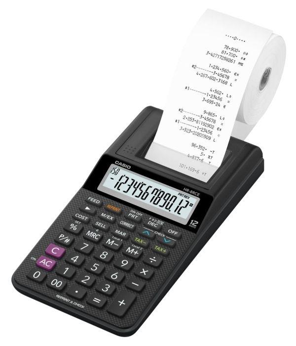 Kalkulačka Casio HR-8TEC s tiskem, černá