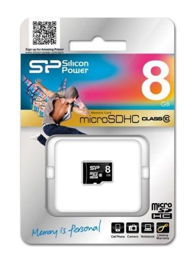 Karta micro SDHC Silicon Power, 8 GB, class 10 adaptér SD