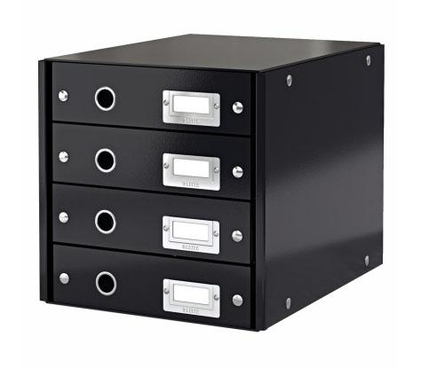 Archivační box zásuvkový Leitz Click-N-Store, 4 zásuvky, černý