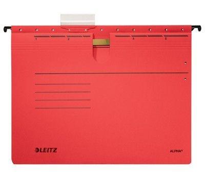 Závěsné desky Leitz ALPHA s rychlovazačem, červené