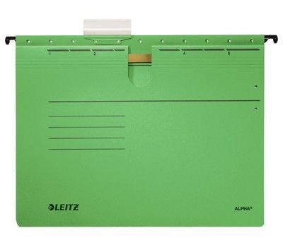 Závěsné desky Leitz ALPHA s rychlovazačem, zelené