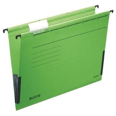 Závěsné desky Leitz ALPHA s bočnicemi, zelené