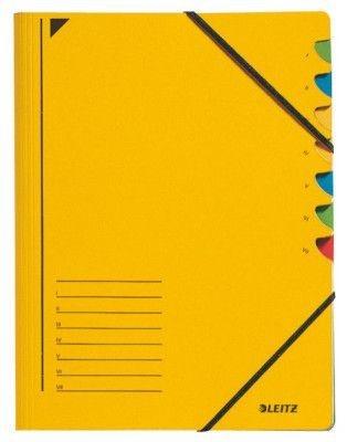 Třídící desky Leitz s gumičkou, 7 přihrádkové, žluté