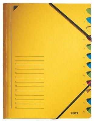 Třídící desky Leitz s gumičkou, 12 přihrádkové, žluté