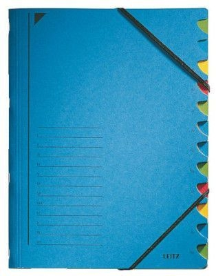 Třídící desky Leitz s gumičkou, 12 přihrádkové, modré