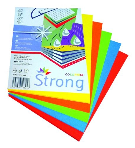 Barevný papír A4, mix sytých barev, 5 × 50 listů